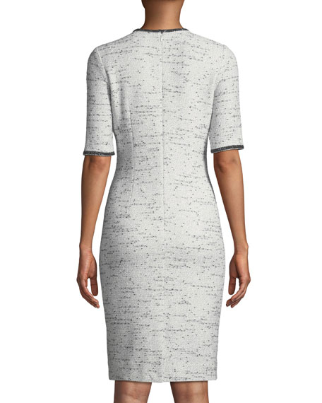 Tweed Stretch Boucle Knee-Length Dress