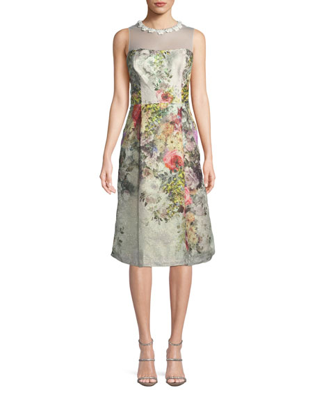 Rickie Freeman for Teri Jon Floral Jacquard Sleeveless