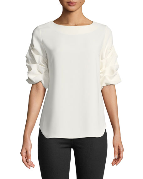 Amanda Uprichard Oregon Puff-Sleeve Top
