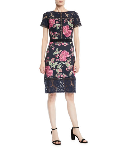 Short-Sleeve Lace & Pleated Jacquard Cocktail Dress