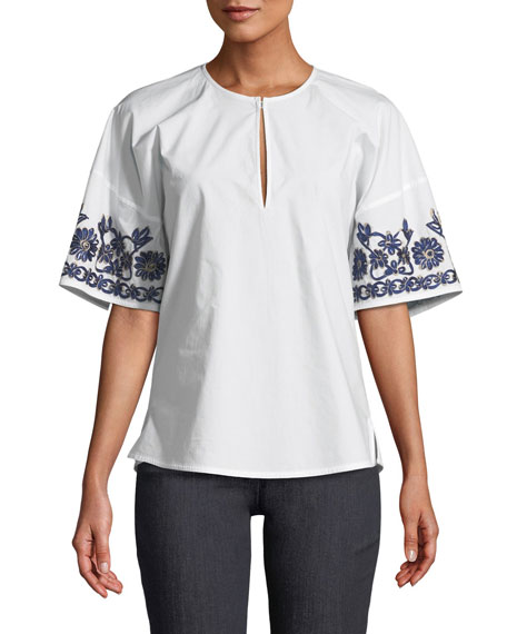 Amy Embroidered Poplin Top