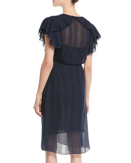 Madison Grid-Textured Georgette Dress