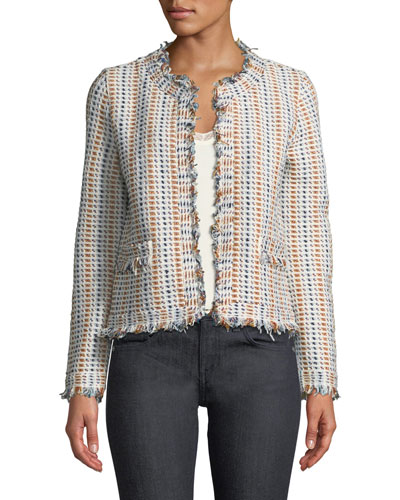 Hollis Frisee Fringed-Trim Jacket