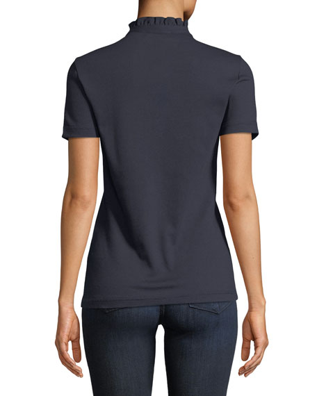 Emily Ruffled Piqué Polo Shirt