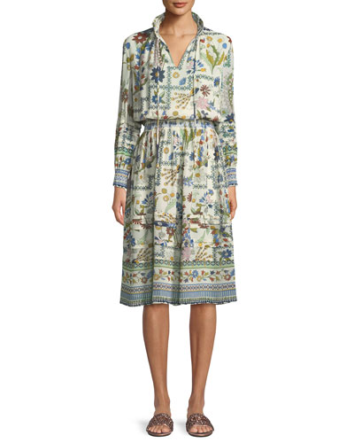 Waverly Meadow Floral Long-Sleeve Shirt Dress