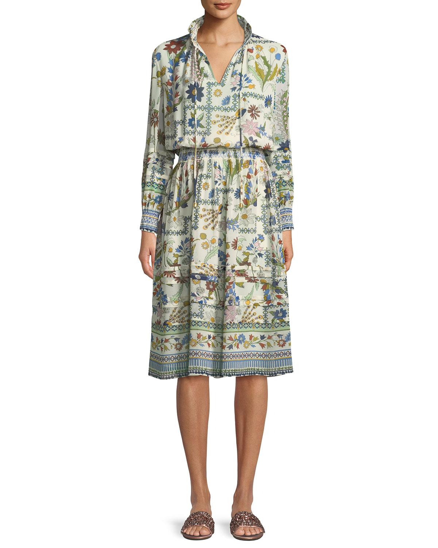 161efaa012ad4 Tory Burch Waverly Meadow Floral Long-Sleeve Shirt Dress