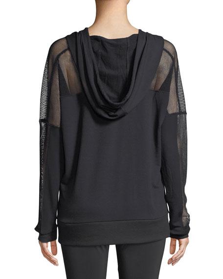 Hooded Long-Sleeve Mesh Pullover