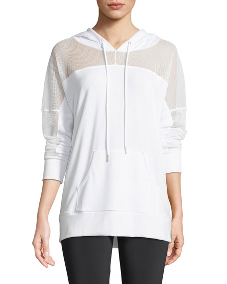 Hooded Long-Sleeve Mesh Pullover