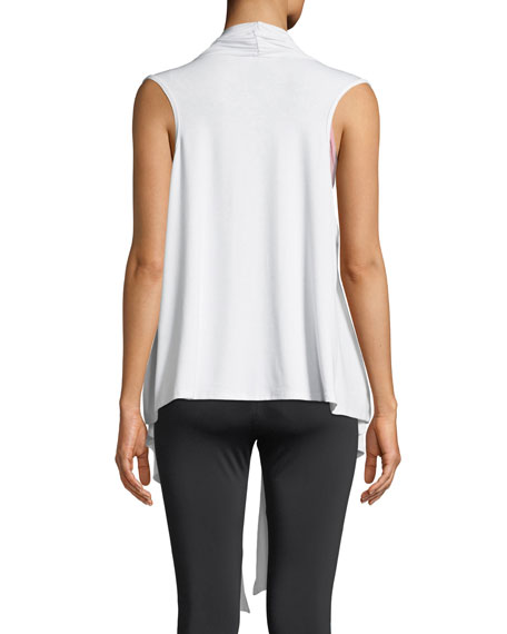 Draped Open-Front Sleeveless Yoga Cardigan