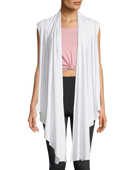 ONZIE Draped Open-Front Sleeveless Yoga Cardigan in White