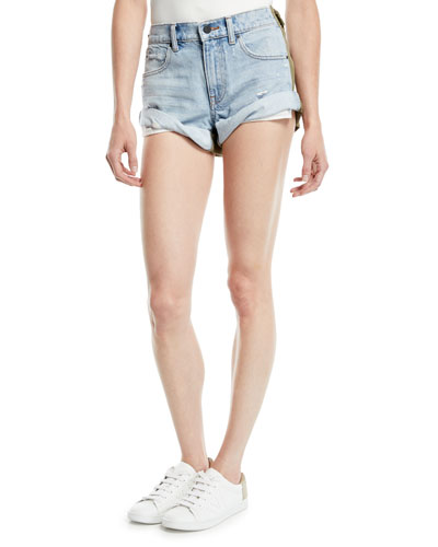 Hikie Mix Hybrid Denim & Twill Low-Rise Shorts