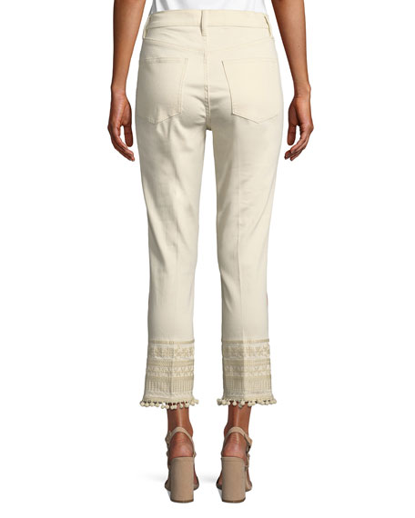 Lana Pompom Embroidered-Cuff Ankle Jeans