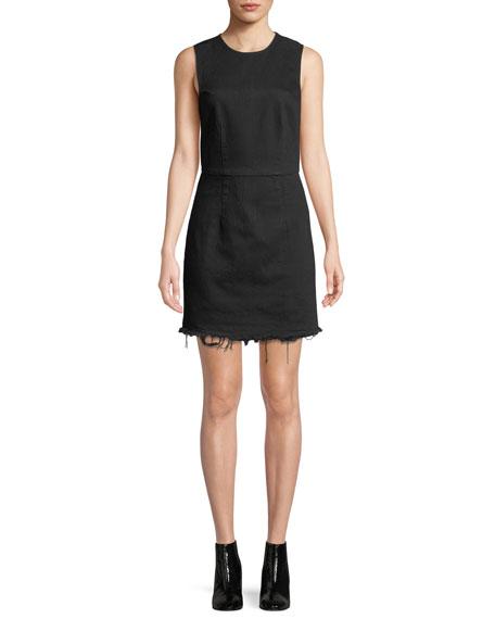 Frayed Twill Sleeveless Mini Dress
