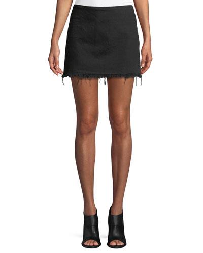 Frayed Cotton Twill Mini Skirt