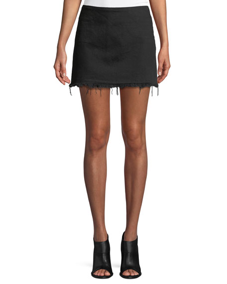 Frayed Cotton Twill Mini Skirt