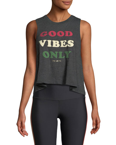 Good Vibes Only Cropped Graphic Tank