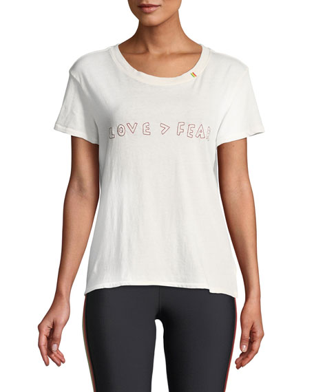 Love Is Greater Than Fear Classic Embroidered Scoop-Neck Tee in White