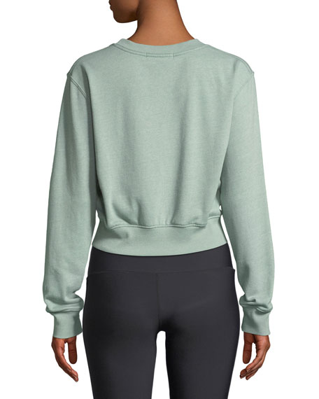 Varsity Cropped Graphic Pullover Sweatshirt