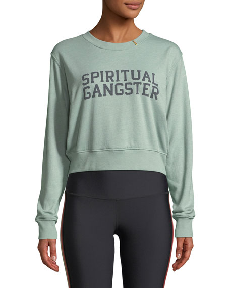 Spiritual Gangster Varsity Cropped Graphic Pullover Sweatshirt