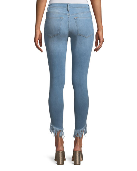 Le High Skinny Jeans with Shredded Hem