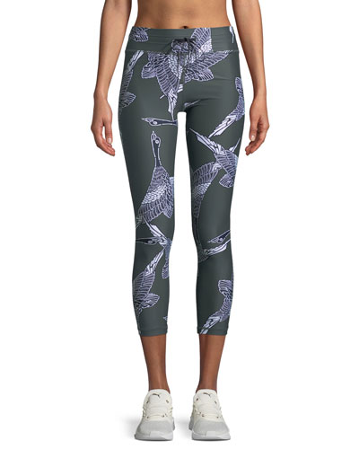 Mallard Printed Drawstring Midi Leggings