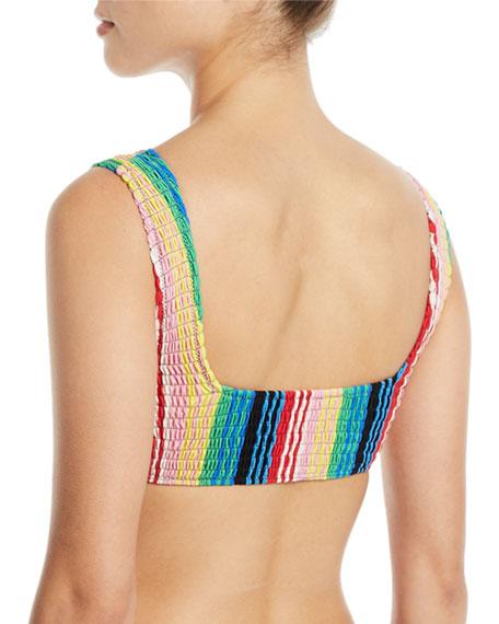 Striped Smocked Bikini Top