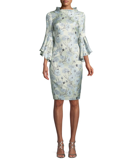 Badgley Mischka Collection High-Neck Trumpet-Sleeve Brocade