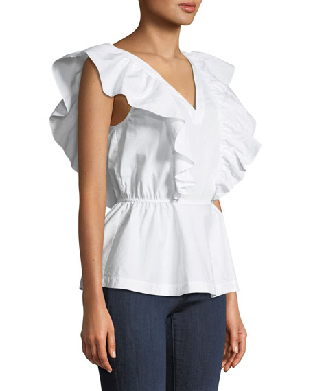 Lucious Fresh Cotton Double-V Shirting Top