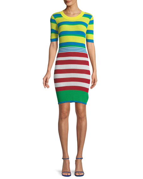 Striped Elbow-Sleeve Coverup Sweaterdress