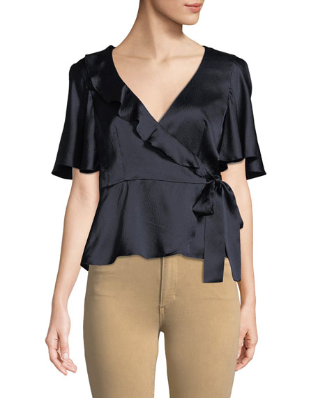 Harlow Silk Peplum Wrap Top