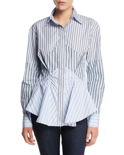 Striped Gathered Button-Front Cotton Shirt
