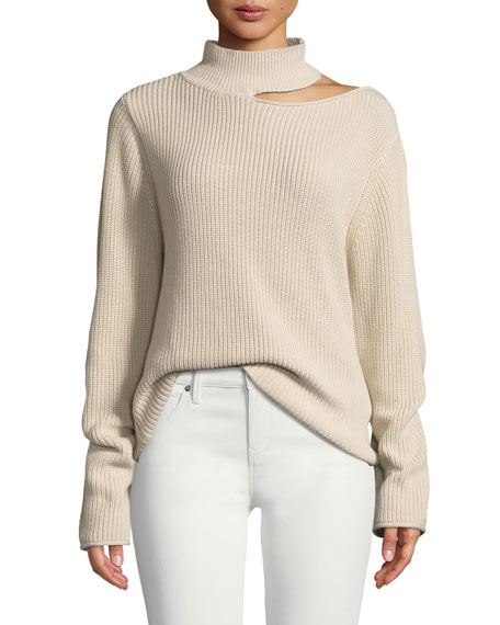Langley Cutout Cotton Turtleneck Sweater