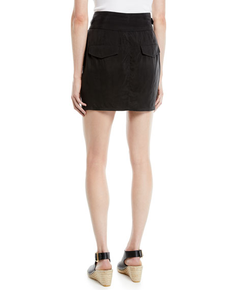 Skylar Pleated Snap-Waist Mini Skirt