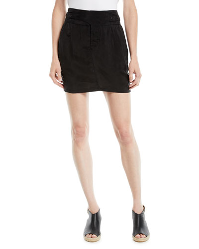 Skylar Pleated Snap-Waist Mini Skirt