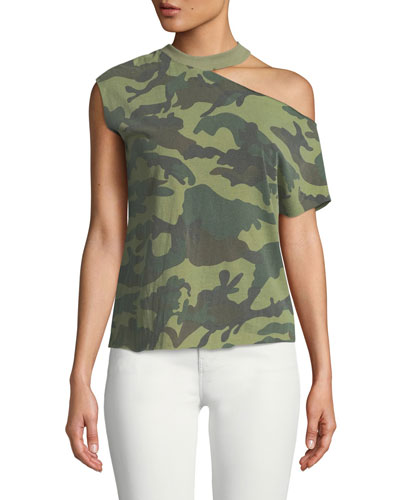 Axel Cold-Shoulder Raw-Edge Camo Tee