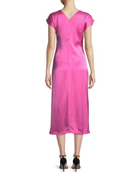 Twisted-Front Satin Midi Dress