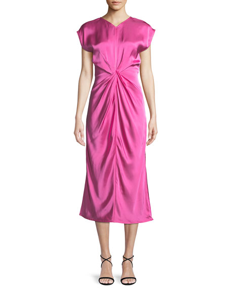 Twist-Front Cotton Satin Midi-Dress, Pink