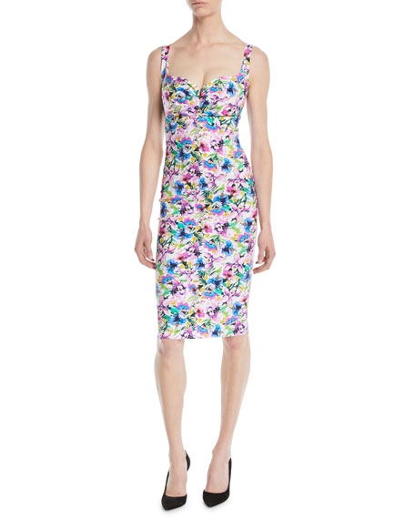 Ceyda Boned Floral-Print Cocktail Dress