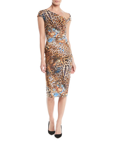 Emanuela Asymmetric Leopard-Print Dress