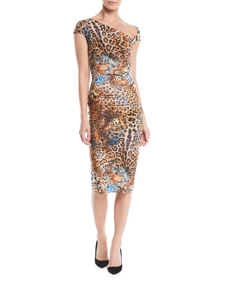 Emanuela Asymmetric Leopard-Print Dress