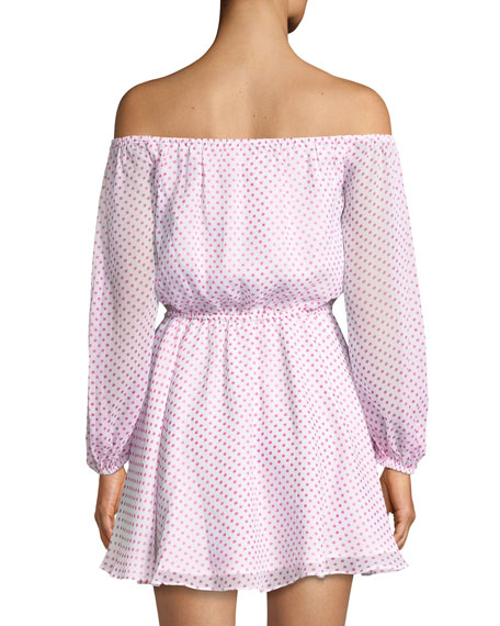 World Traveler Dot-Print Off-Shoulder Dress