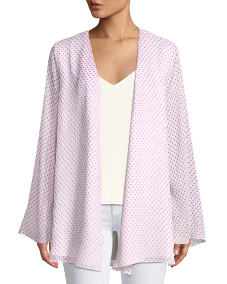 Brunching Dot-Print Open-Front Kimono Top