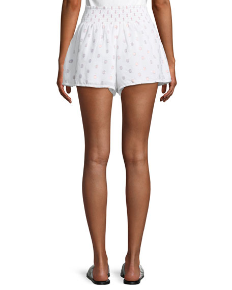 Lynn Smocked Dot-Print Shorts