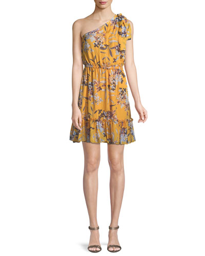 Carmela Floral Silk One-Shoulder Dress