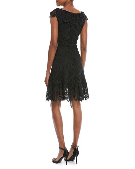 Agustina Lace Cap-Sleeve Dress