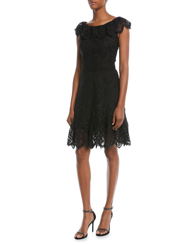 Agustina Lace Cap-Sleeve Dress