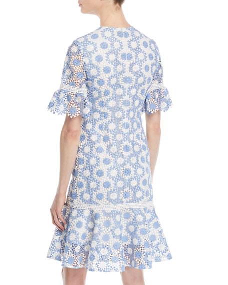 Marisol Circle-Lace Short-Sleeve Dress