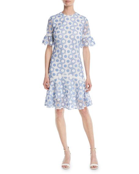 Shoshanna Marisol Circle-Lace Short-Sleeve Dress