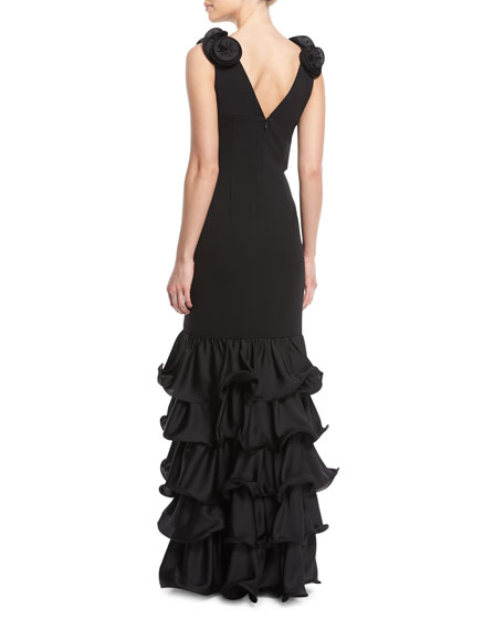 Tiered Ruffle Gown w/ 3D Rosette Shoulders