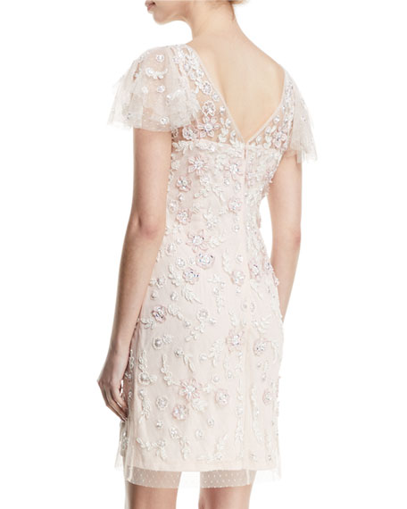 Floral Beaded Flutter-Sleeve Dress